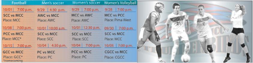 MCC Sports Schedule Fall 2016