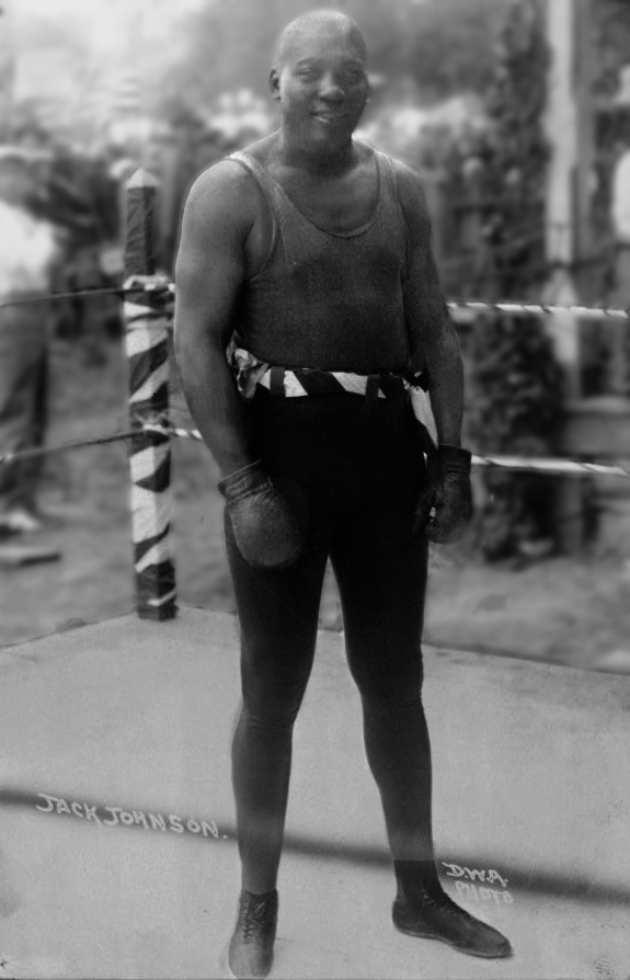 Jack Johnson as he appeared in the ring against his opponents, and out in public as a private citizen (below).