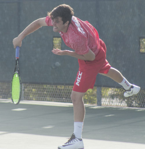 Eduardo Couto plays for the MCC men's tennis team. (Photos: Tania Ritko / Mesa Legend)