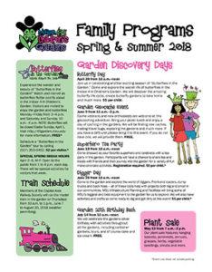 Michigan 4-H Children's Gardens Family Programs Calendar Spring & Summer 2018