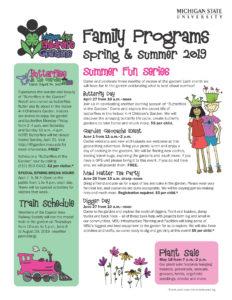Michigan 4-H Children's Gardens Spring & Summer 2019 Calendar - image of page 1