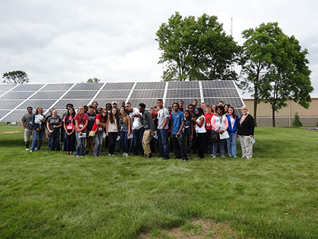 Participants at the 4-H Renewable Energy Camp, held July 6-10, 2015, visited the HomeWorks Community Solar Garden in Portland, Michigan, to learn about solar energy.