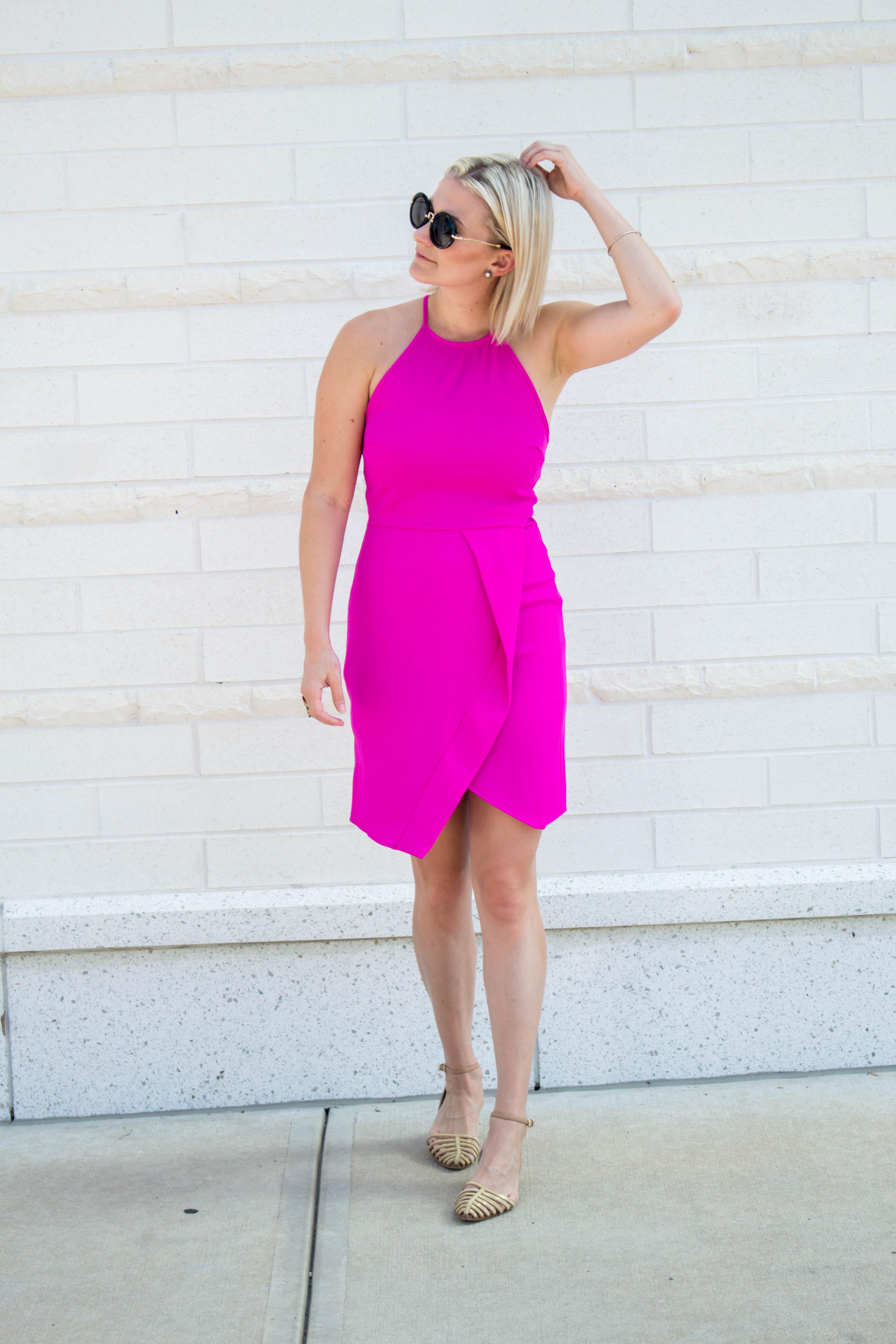Not Necessarily Blonde_Hot Pink Dress-236