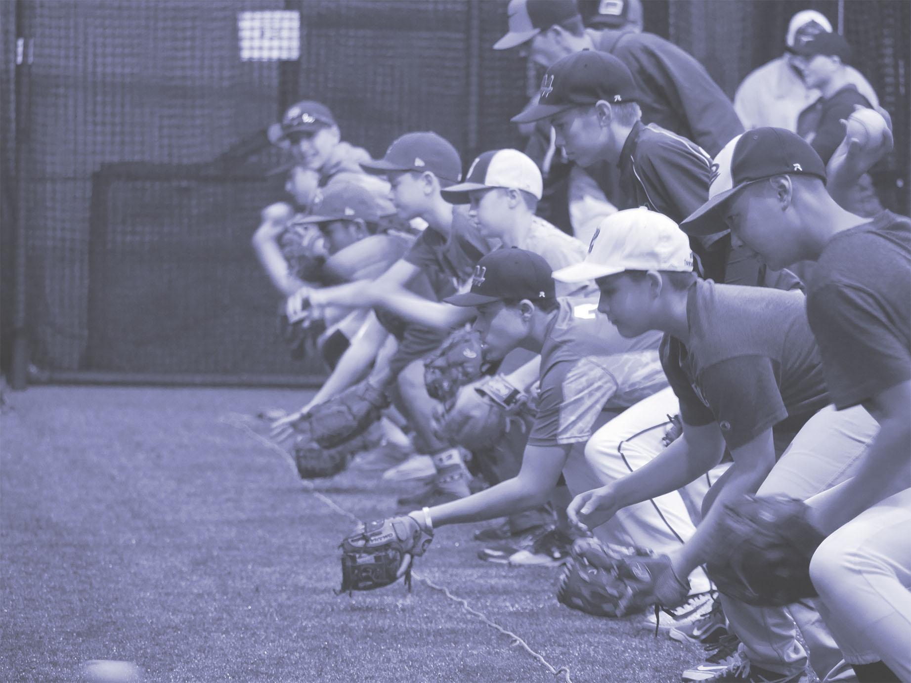 Players Fielding in Blue