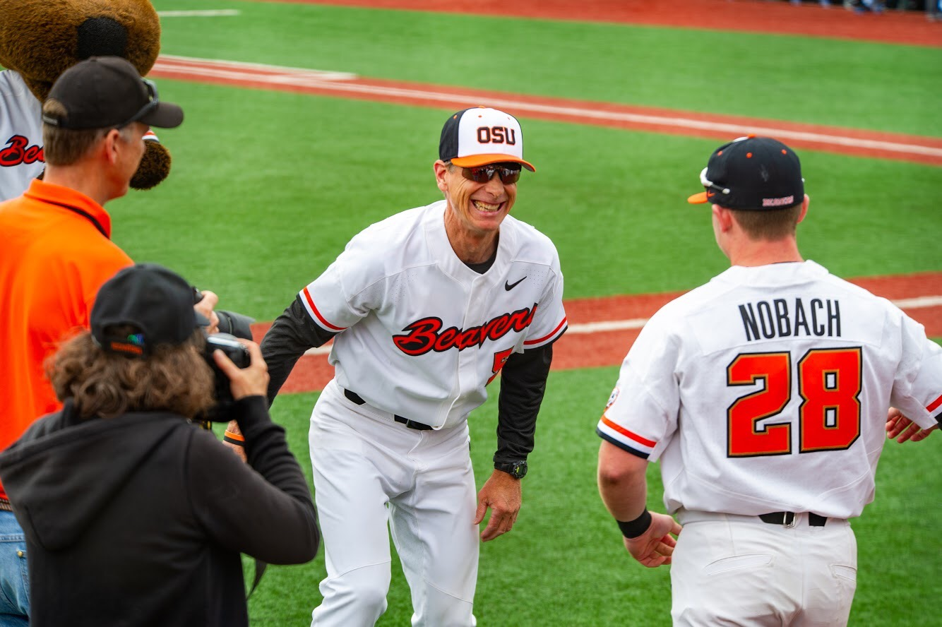 Pat Casey Welcomes Kyle Nobach During Pre-Game Introduction on Senior Day at Oregon State University in 2018