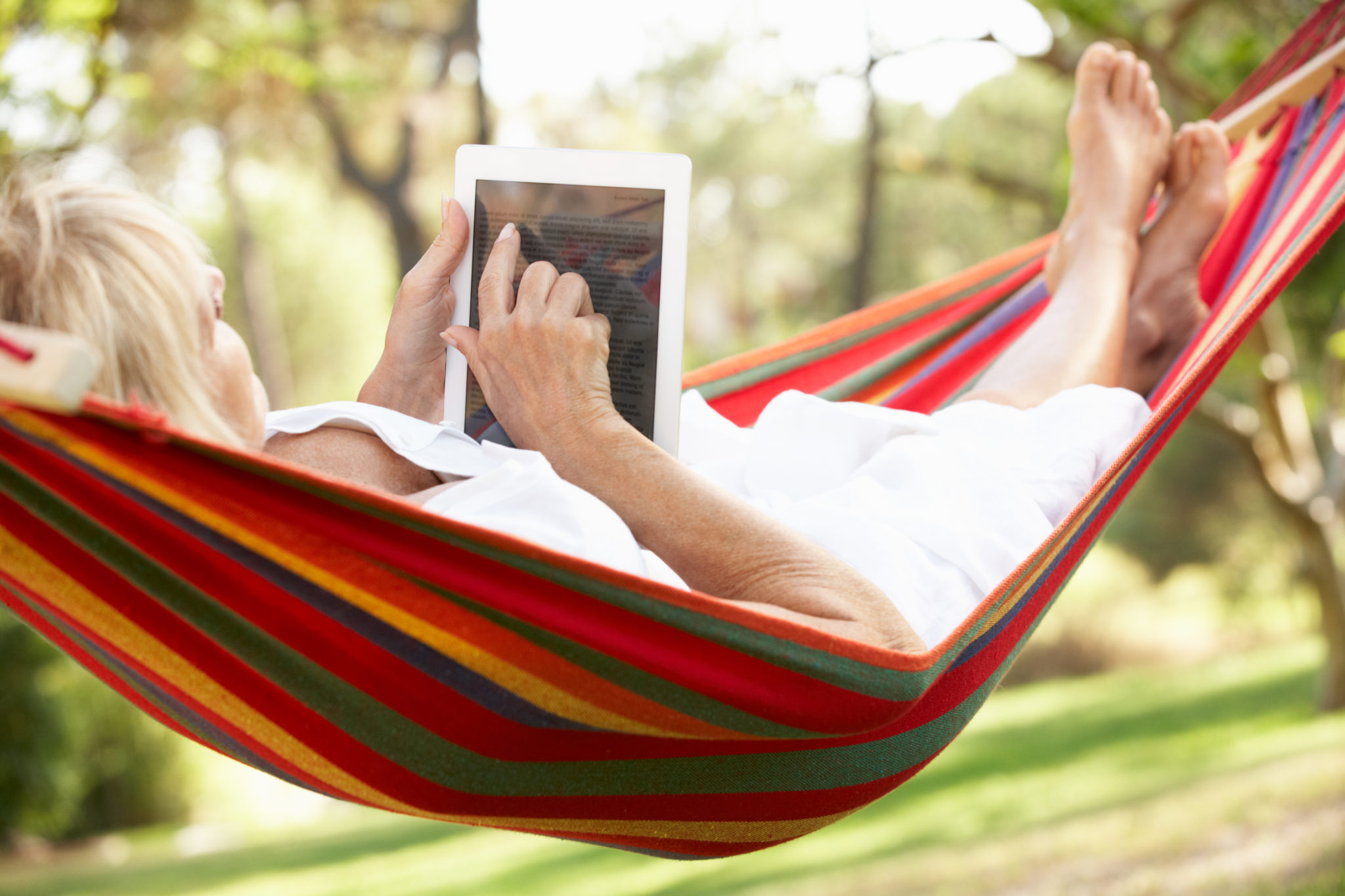 large - woman hammock ipad tablet