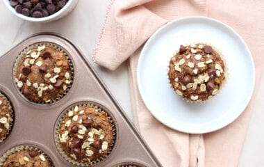 Oatmeal Chocolate Chip Banana Blender Muffins