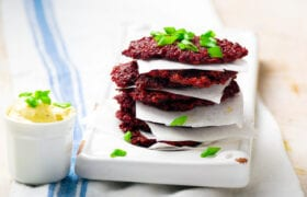 Beet, Feta and Herb Fritters