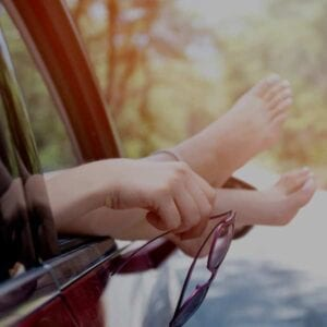 ETFA Cover photo. Happy Feet hanging out a car window