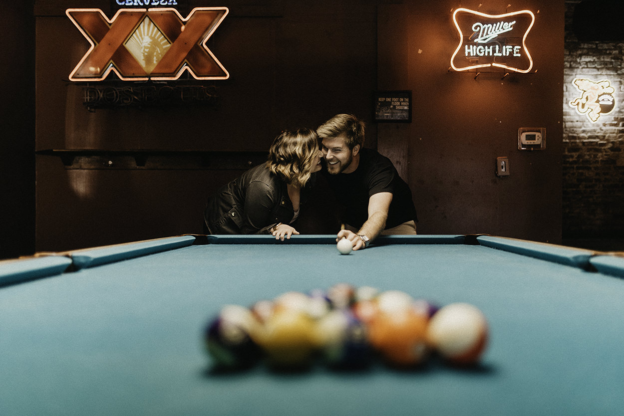 Inside playing billards engagement session