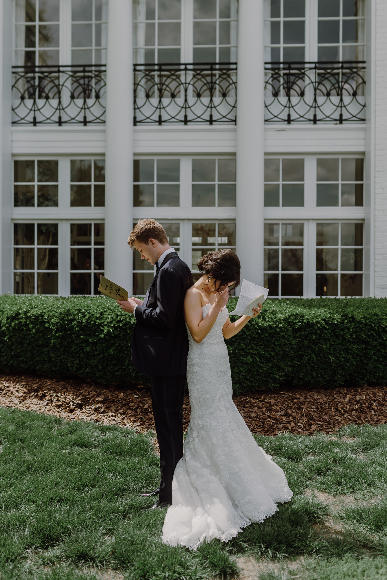 Bride and Groom First Look at Boxwood Estate