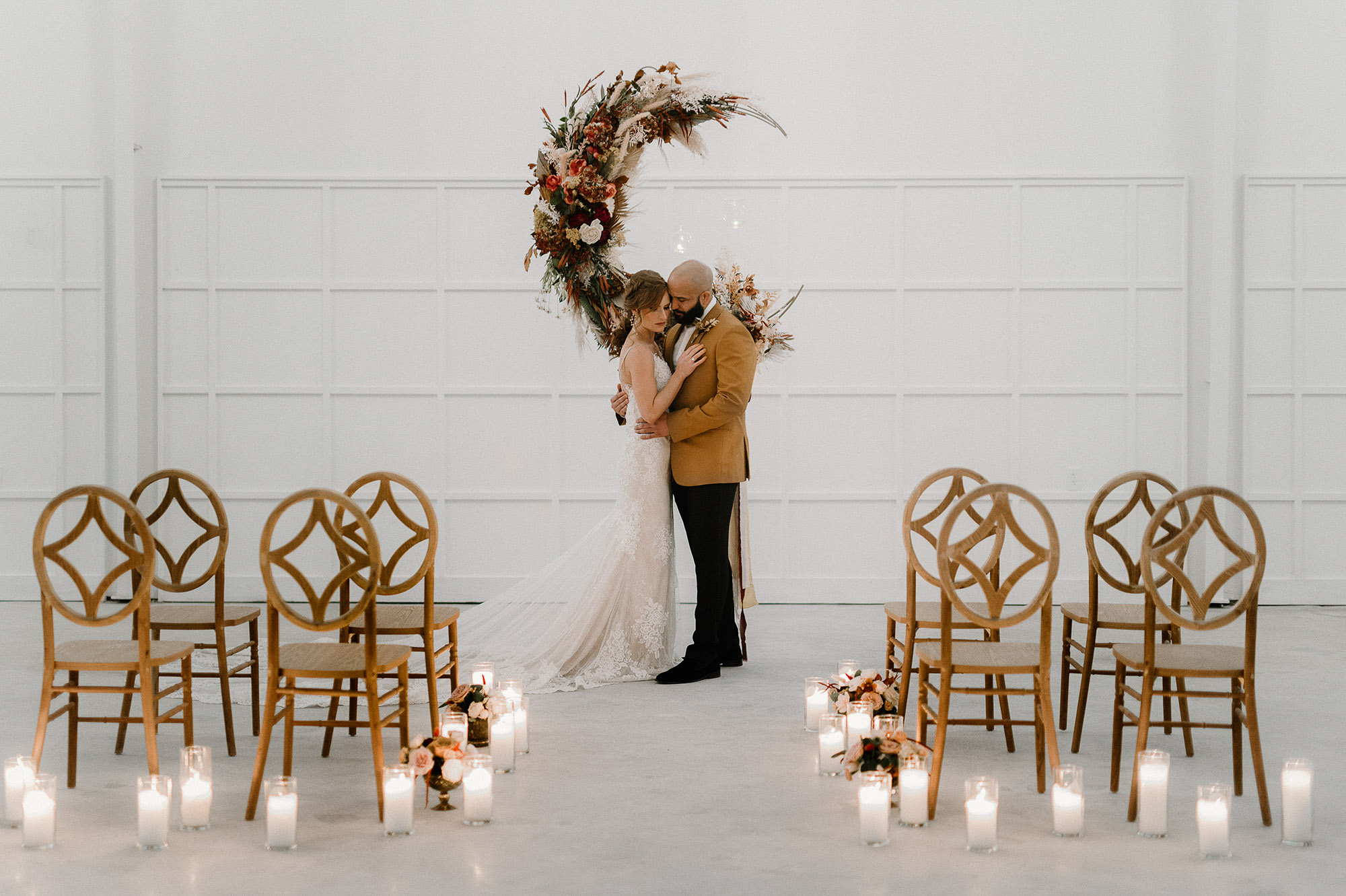 Boho Inspired Wedding | Floral Crescent Moon | The Distillery