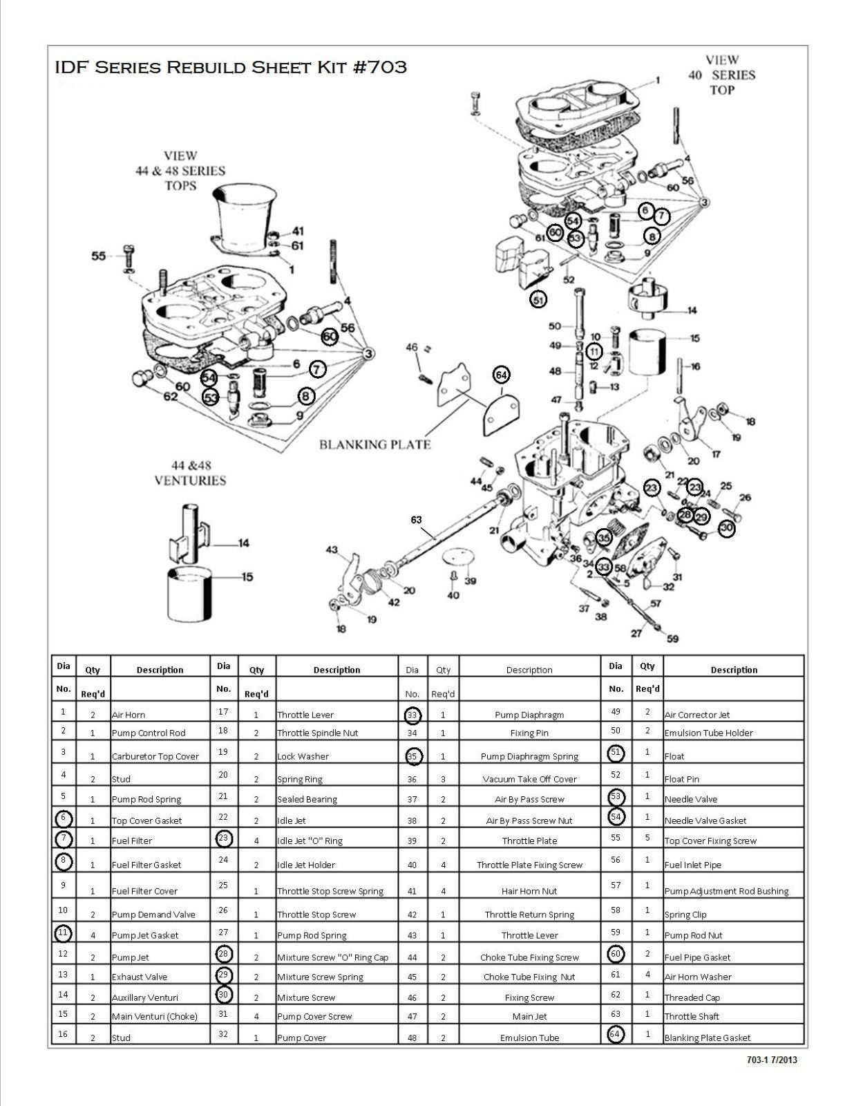 PAIR WEBER 40-44-48 IDF CARB REBUILD-OVERHAUL KITS WITH