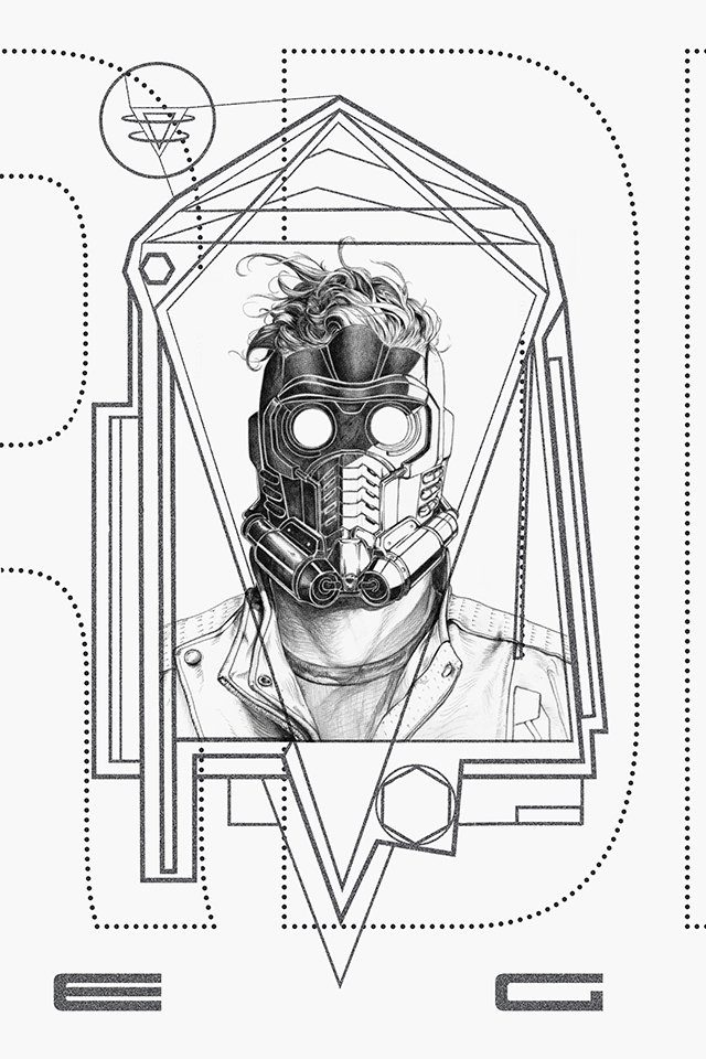 Poster design of Star Lord from Guardians of The Galaxy. Mediums used: Illustrator, Photoshop, Pencil