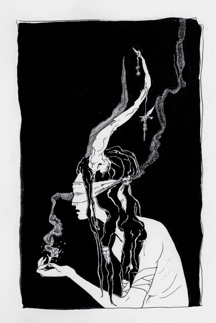 Ink drawing of blindfolded woman with dreadlocks and horns