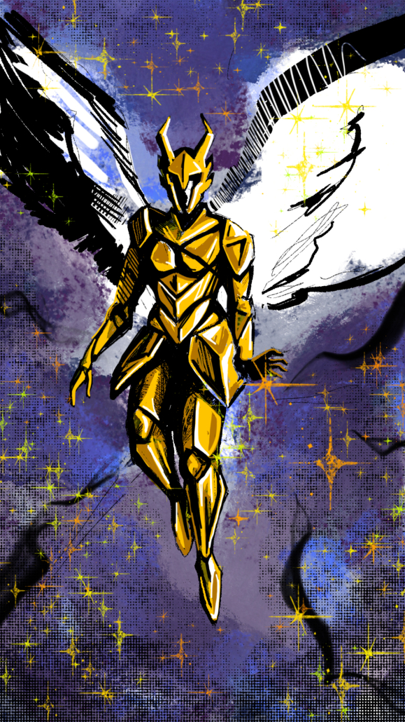 Gritty comic style illustration of Valkyrie mascot in golden armor. Programs used were Procreate and Photoshop