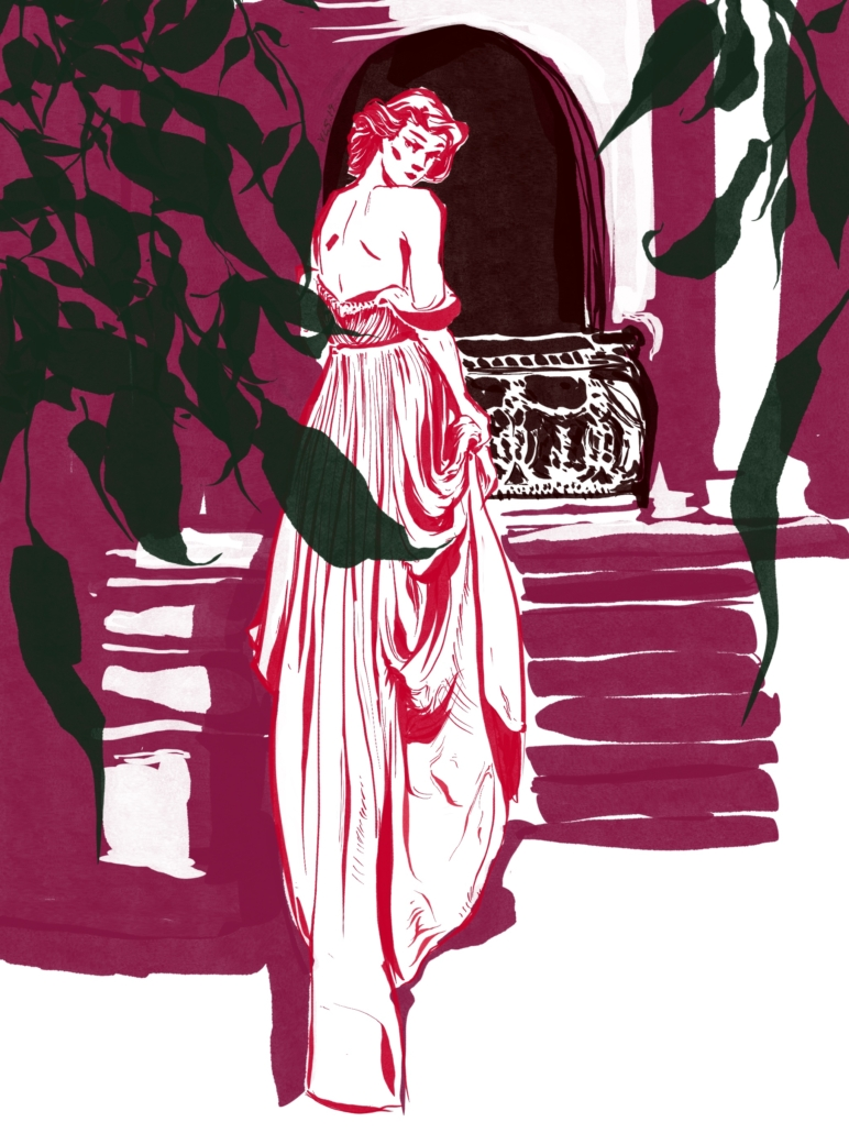 Digital ink editorial fashion illustration of woman in outdoor garden