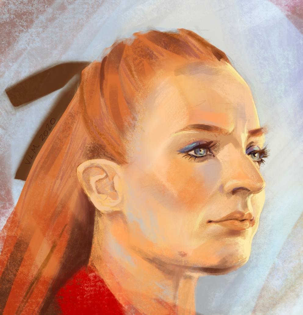 Celebrity Digital Painting Portrait Illustration of Sophie Turner Jonas. Program used: Procreate