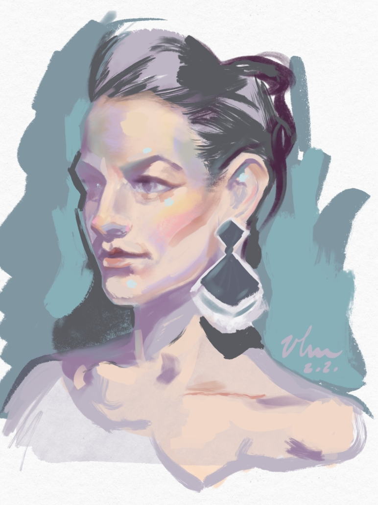 Digital portrait painting from live model. Program used: Procreate