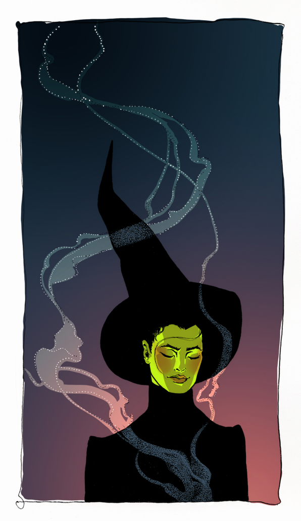 Mixed media illustration of a witch surrounded by smoke. Media used: Photoshop and pen and ink on paper
