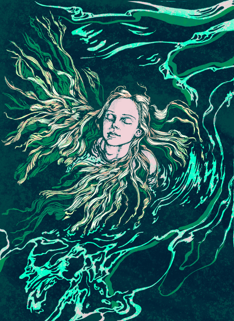Digital illustration of a young woman floating in water with her long hair fanning out. Media used: Photoshop, Pen and ink on paper
