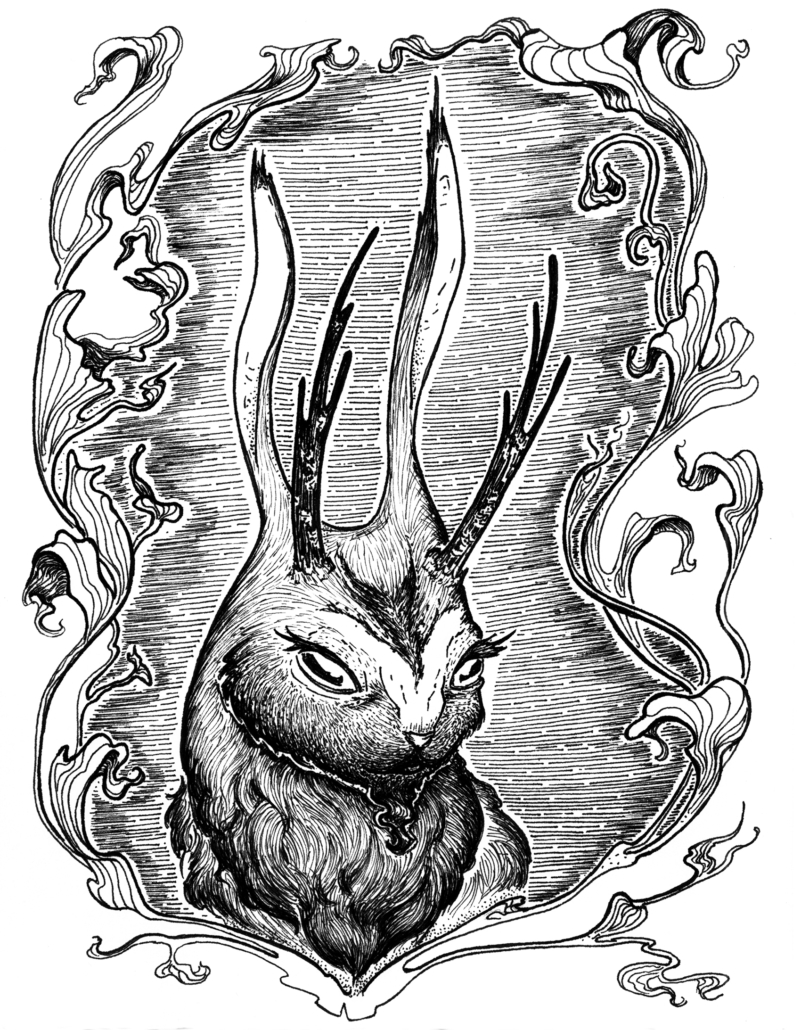 Pen and Ink character drawing of a jackalope framed by leaves.