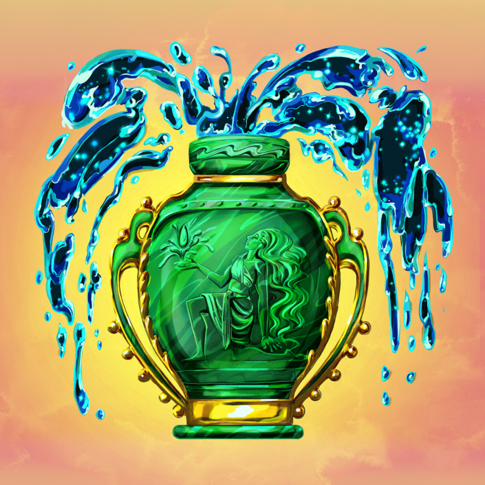Digital painting of zodiac sign, Aquarius. Illustrated as a jade vase with gold accents and carved with a water god on its side, it has water spouting out like a celestial fountain. Programs used: Photoshop and Procreate