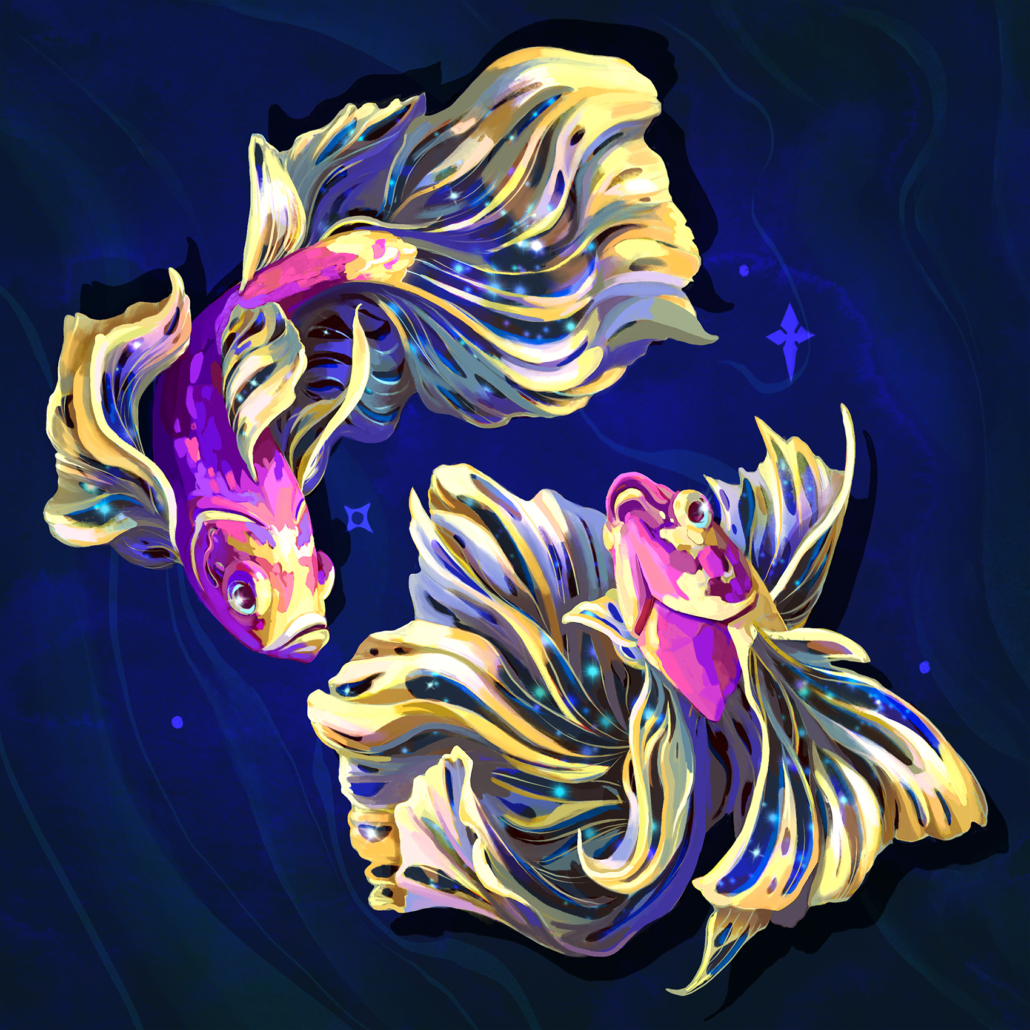 Digital painting of zodiac sign, Pisces. Illustrated as cosmic beta fish, with the stars tucked in their fins while they swim around each other in cosmic water. Programs used: Photoshop and Procreate