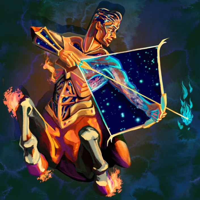 Digital painting of zodiac sign, Sagittarius. Illustrated as a celestial centaur, forged in copper with cosmos tucked in its body and bow and flames emitting from its body. Programs used: Photoshop and Procreate