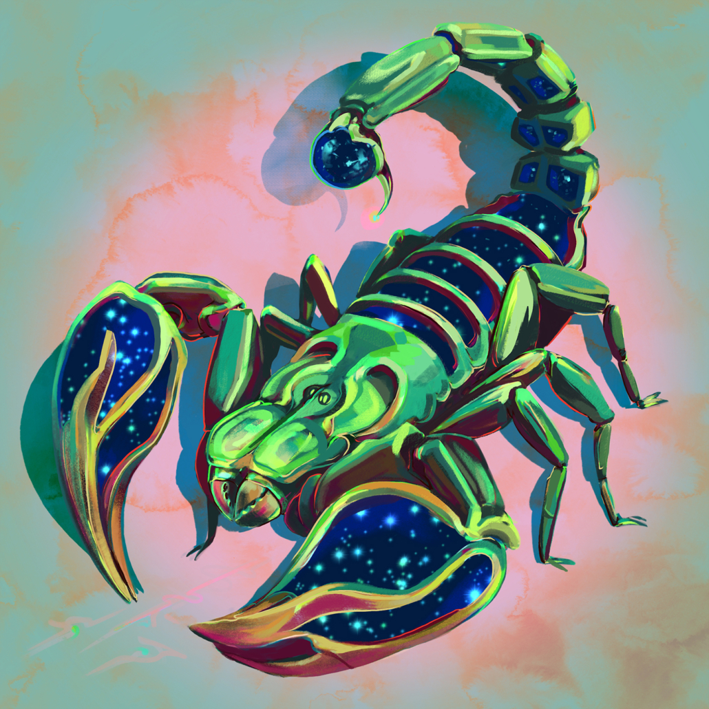 Digital painting of zodiac sign, Scorpio; depicted as a celestial scorpion with the cosmos tucked in its body. Programs used: Photoshop and Procreate