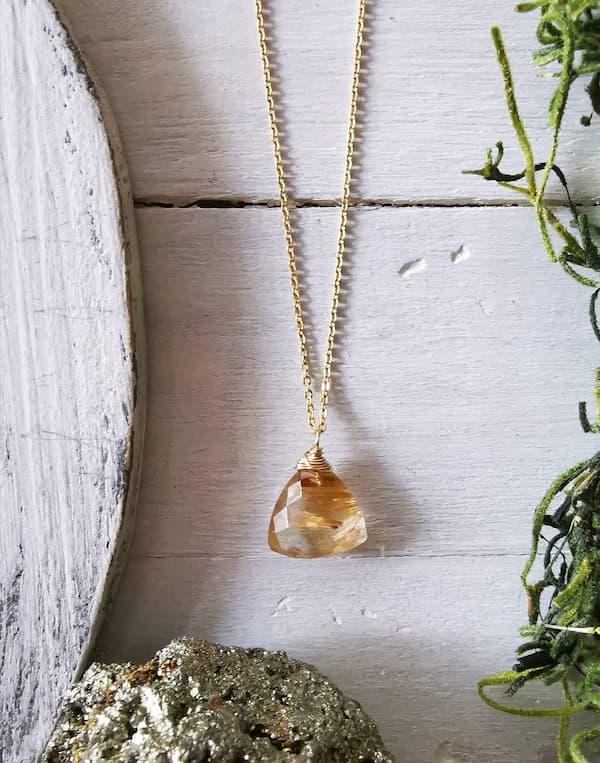 collar cuarzo rutilado golden