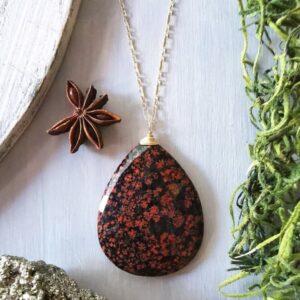 collar jaspe flor de amapola