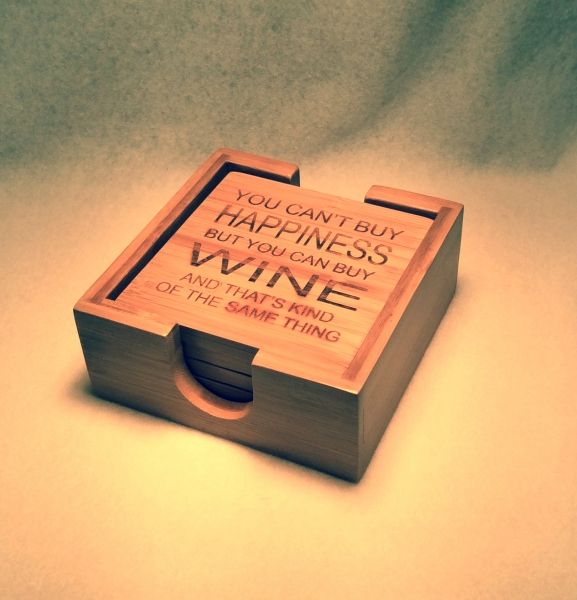 happiness-wine-bamboo-coaster