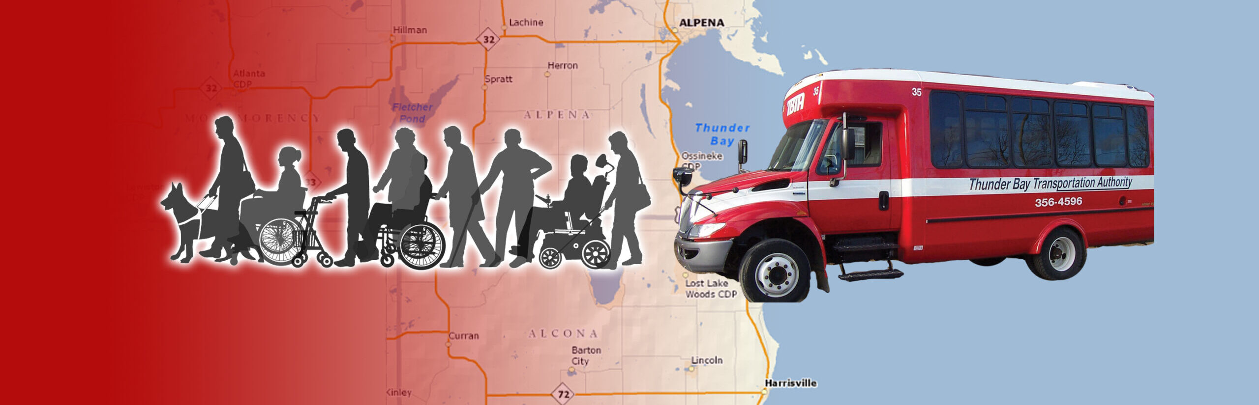 TBTA bus with silhouette of people to ride over a map of Alpena, Alcona and Montmorency Counties