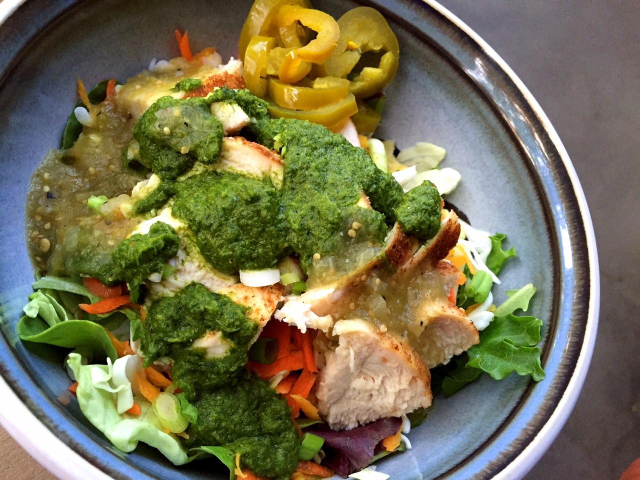 Paleo Chicken Taco Salad with Chimichurri Sauce