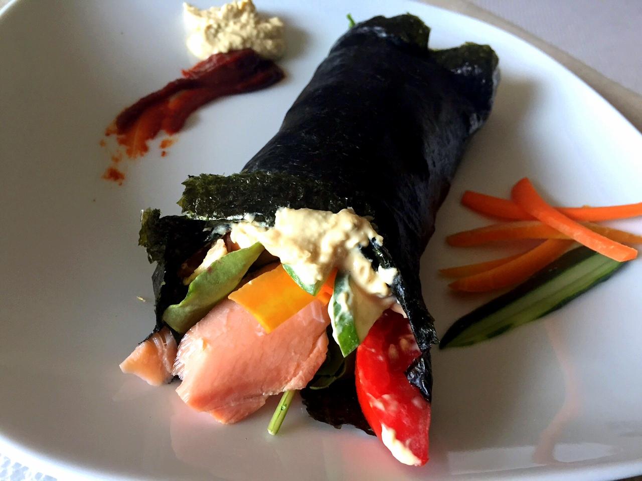 Paleo Smoked Salmon Veggie Nori Wrap