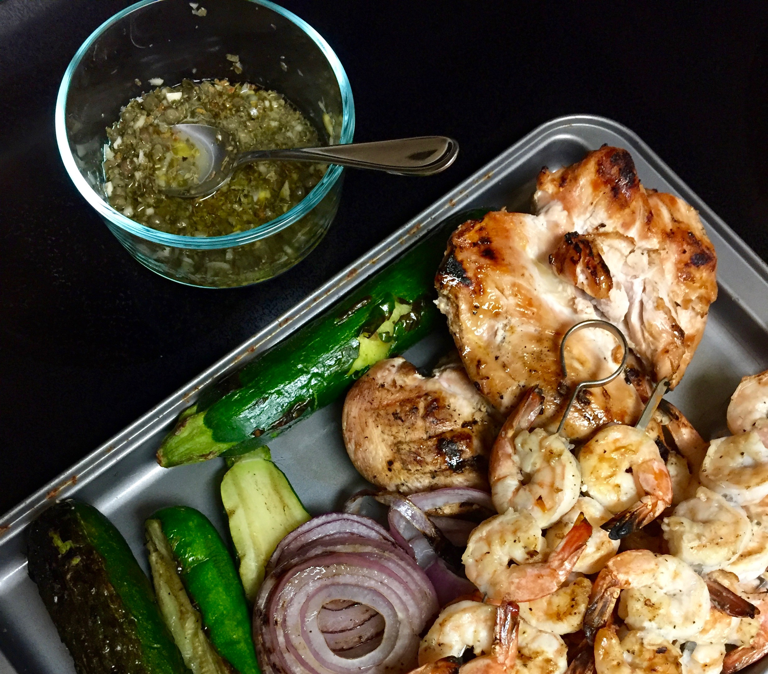 Grilled Garlic Shrimp with Lemon Oregano Caper Drizzle
