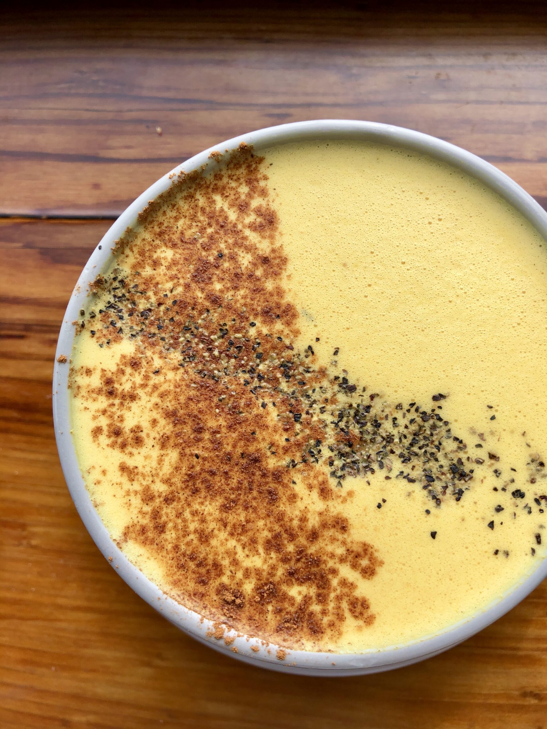 Golden Milk with Turmeric, Ginger, and Cracked Black Pepper