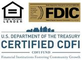 FDIC, Equal Opportunity Lender, Certified CDFI Logos