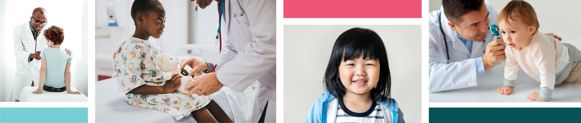 Photo collage of pediatric doctors and kids