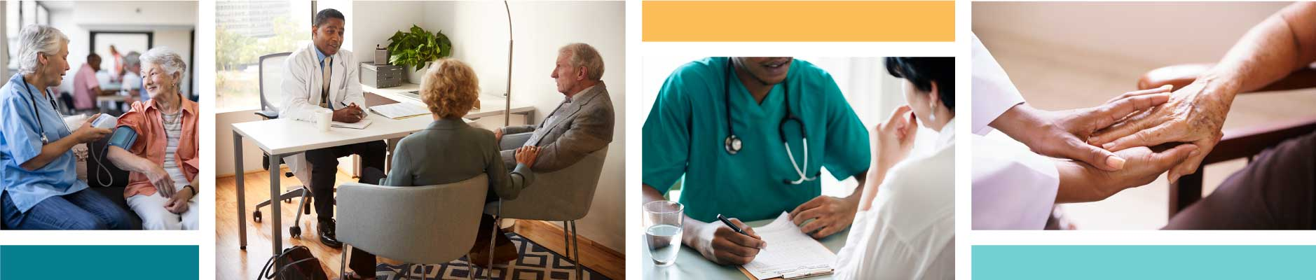 Photo collage of doctors and patients