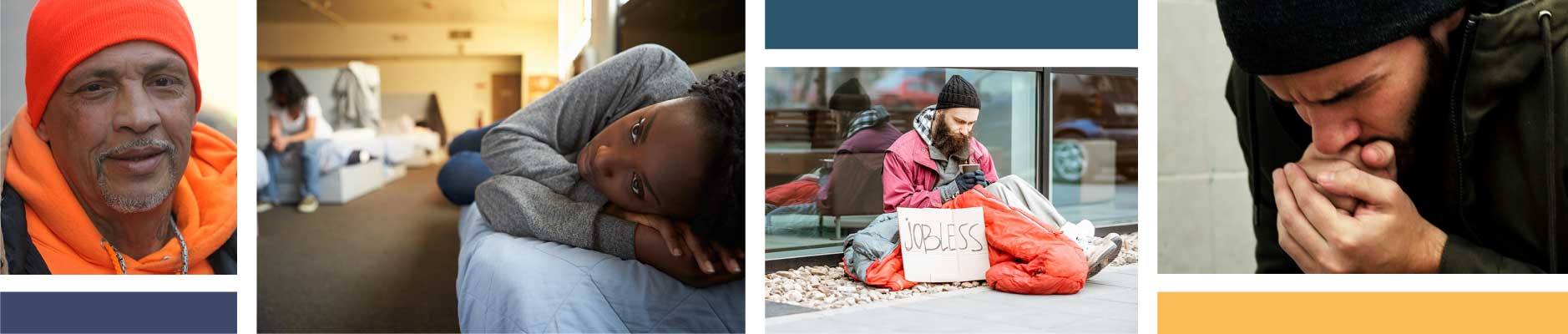Photo collage of homeless people