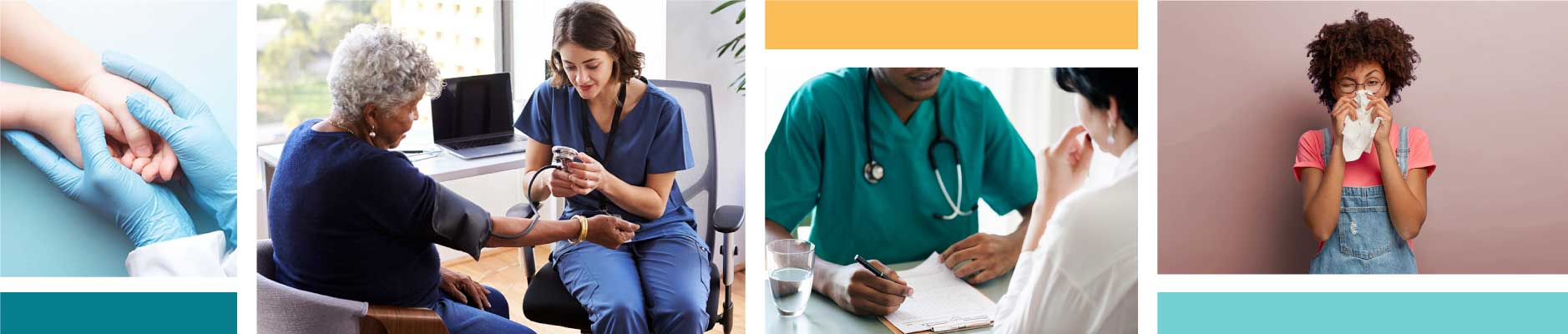 photo collage of medical professionals and patients