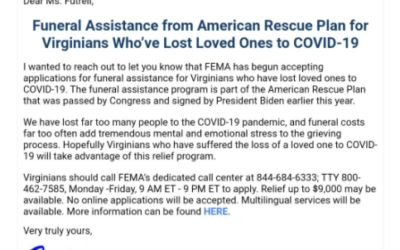 Funeral Assistance for Virginians Who've Lost Loved Ones to COVID-19