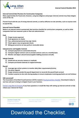 Internal Controls Checklist for Construction companies