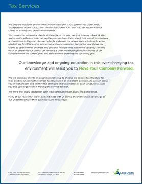 Lang Allan & Company Tax Slip Sheet