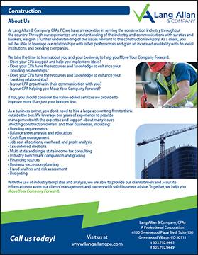 Lang Allan & Company construction brochure cover