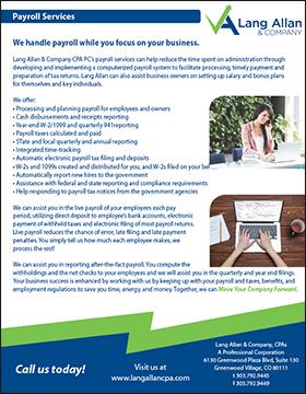 Lang Allan & Company payroll brochure cover