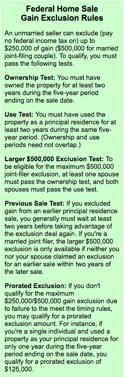 Federal Home Sale Gain Exclusion Rules
