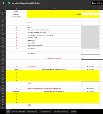 SBA Workbook 2019 screenshot